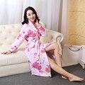 2016 roupão de banho de inverno mulheres dama de honra de cetim vestes quimono do vintage impresso floral casa robe roupão vestes de casamento amarelo
