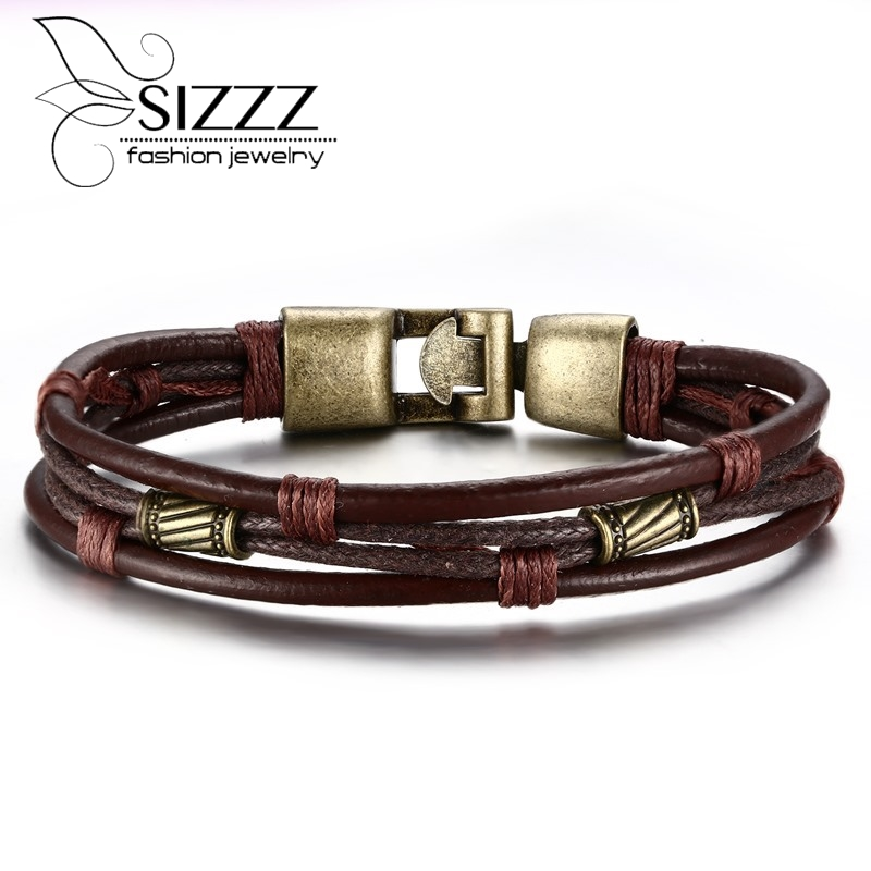 European Punk Style Genuine leather Braided Bracelet Vintage Religious Cross Charm Brace ...