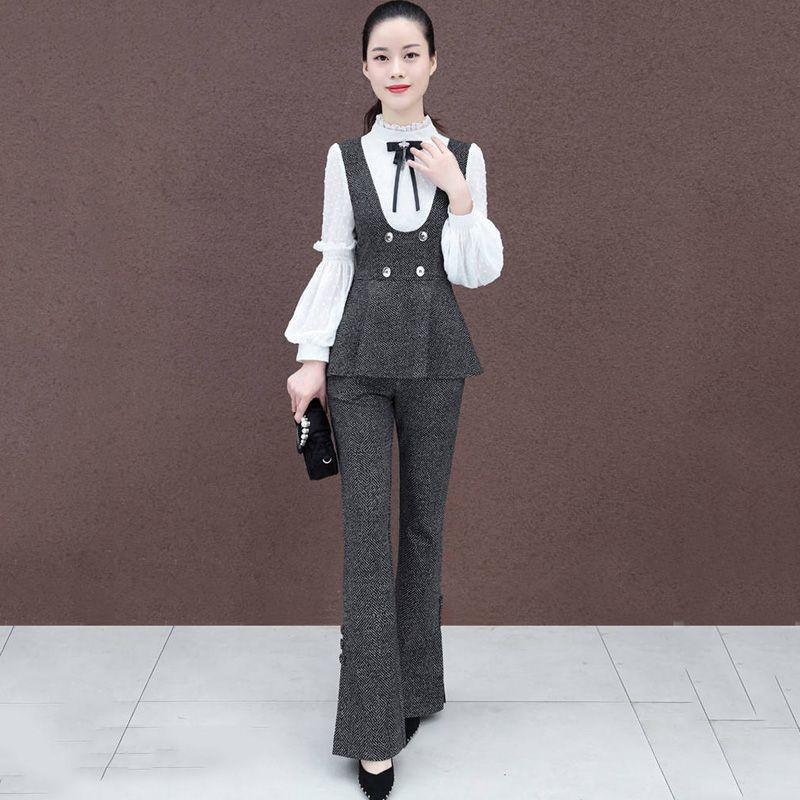 Printemps automne 2019 nouvelles femmes deux pièces ensemble femmes Patchwork hauts + Flare pantalons ensembles dames coréen OL Vintage Slim costumes F108
