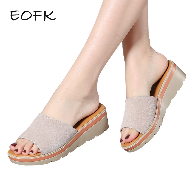 EOFK Summer Women Slippers 2019 New Comfortable Fashion Womens Wedges Slides For Ladies Suede Leather Slippers