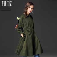 FRMZ Bow Solid Color Women Trench Coat 2017 Fashion Long Sleeve Turn Down Collar Windbreaker