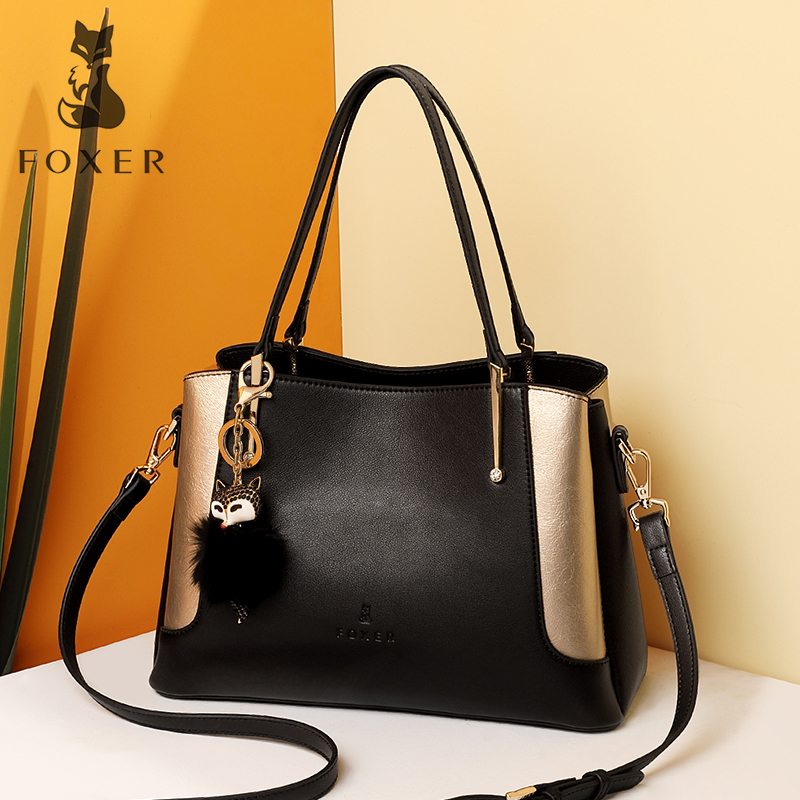 FOXER Brand Lady's Cow Leather Luxury Casual Totes Women Soft Shoulder Bag New Fashion Handbags summer soft cow leather bag fashion small totes brand women handbag red 100