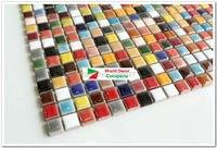 1BOX 11sheets Colorful Kitchen Tiles Glass Mosaic Tiles Iridescent Bathroom Porcelain Tiles Sheet Kitchen Backsplash Art