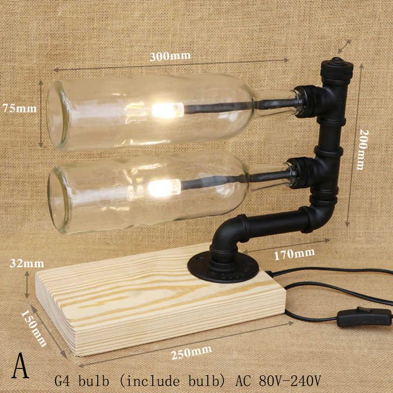 現代染色 2 ガラスボトルランプシェードデスクランプウッドベーステーブルランプ含む G4 電球リビングルームのための 220V
