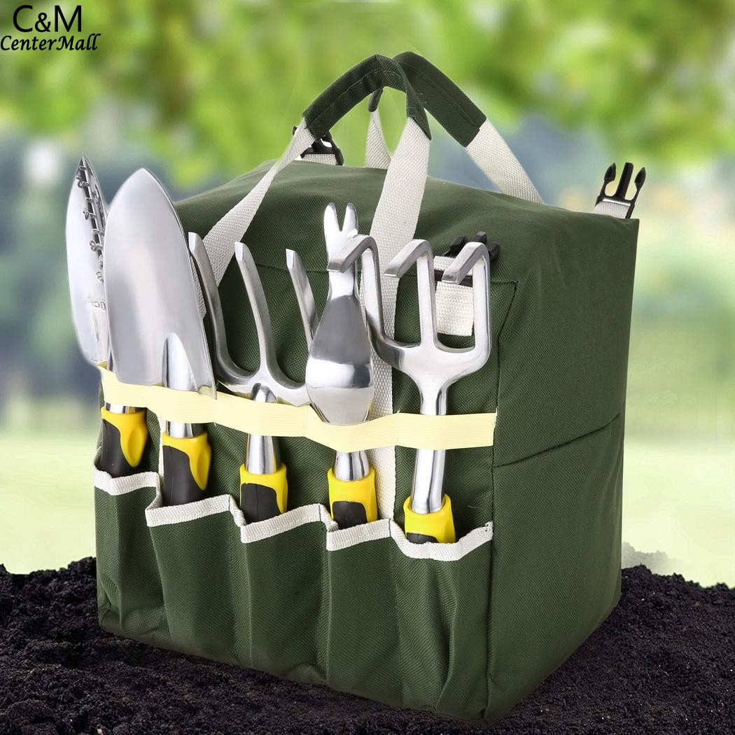 10-piece Gardening Tool Set with Zippered Detachable Tote and Folding Garden Stool Seat with Backrest zippered bootcut jeans