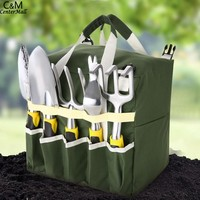 10 piece Gardening Tool Set with Zippered Detachable Tote and Folding Garden Stool Seat with Backrest