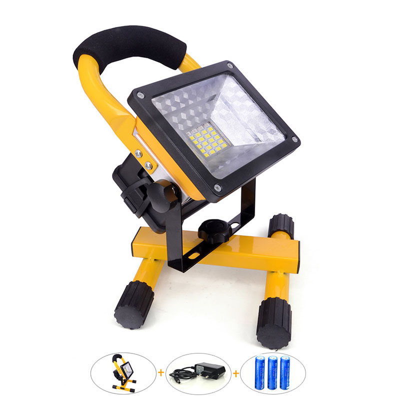 3 PCS Rechargeable 18650 3.7v Li-ion Battery Bateria +LED Floodlight 30W 2400Lm Cordless Portable Lamp