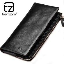 Designer Hochwertigen Berühmte Marken-männer Echtes Leder Langen Reißverschluss Brieftasche Business Casual Männer Große Kapazität Solide Handtasche