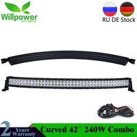 JEEPs 42'' inch 240w combo waterproof IP67 offroad led work light car curved led light bars for trucks