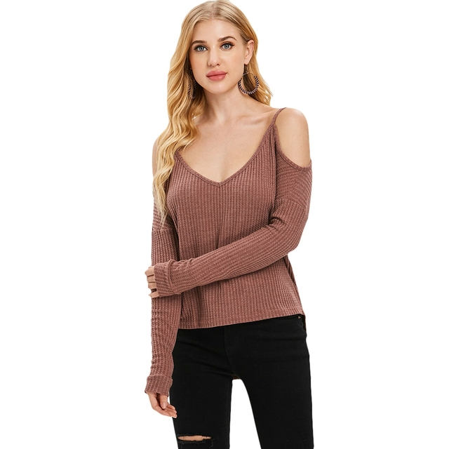 dcbdbadef4ba23 Casual Brand New christmas sweater for womens Sexy Loose V Neck Off Shoulder  Long Sleeve Jumper Sweaters Blouse Tops