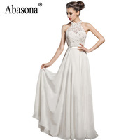 Abasona Women Evening Party Dresses Sexy Lace Hollow Out Halter Dress Backless Cut White Christmas Long