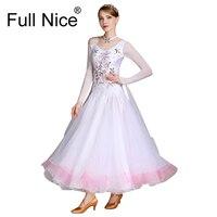 Роскошная вышивка цветочный узор белый розовый бальные платье для танцев длинные Длина современный танец костюм Вальс одежда фламенко Рум