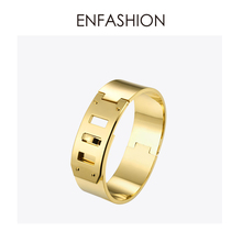 Enfashion Jewelry Punk Wide Belt Buckle Cuff Bracelet Gold color Stainless Steel Bangles Bracelets For Women bracelet Pulseiras