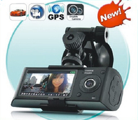 Free Shipping 120 Degree Dual LENS GPS Car Video Camera DVR Recorder Car Camera