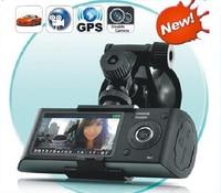 Free Shipping 120 Degree Dual LENS GPS Car Video Camera DVR Recorder Car Camera