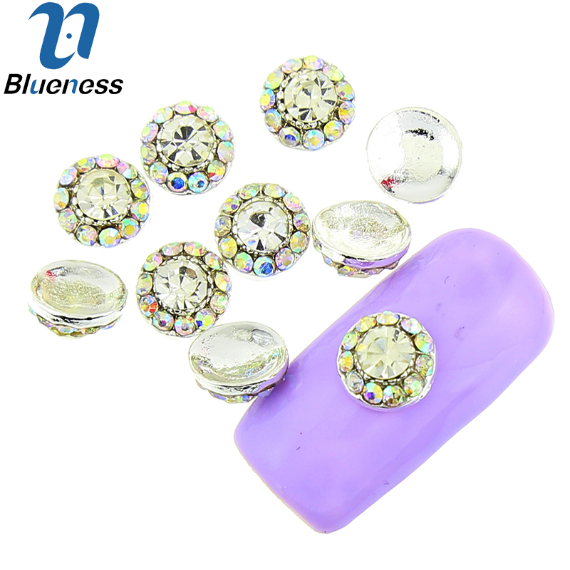 Blueness 10 Pcs/Lot Silver Nail Art Crystal AB Rhinestones For Nails Flower Design Studs Charms Strass Manicure Supplies TN1816 50pcs manicure strass nail stickers adhesive rhinestones for nails supplies 3d nail art decorations new arrive resin charms gem