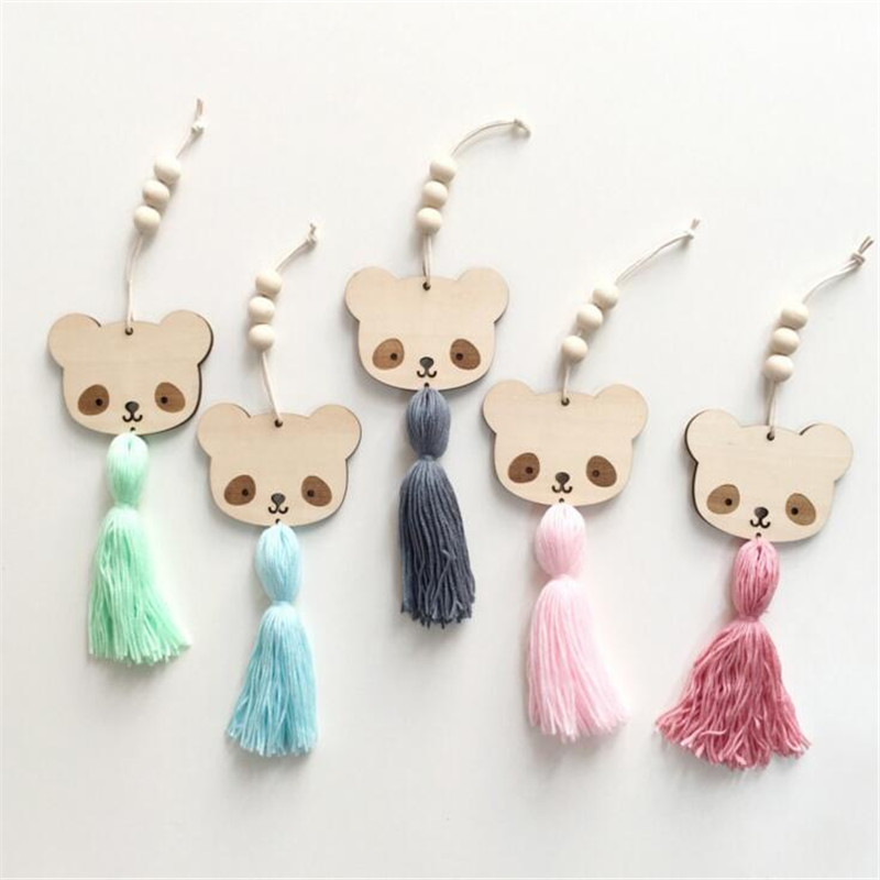 Nordic Style Cute Panda Shape Wooden Beads Tassel Pendant Kids Room Decoration Wall Hanging Ornament Photography Accessories