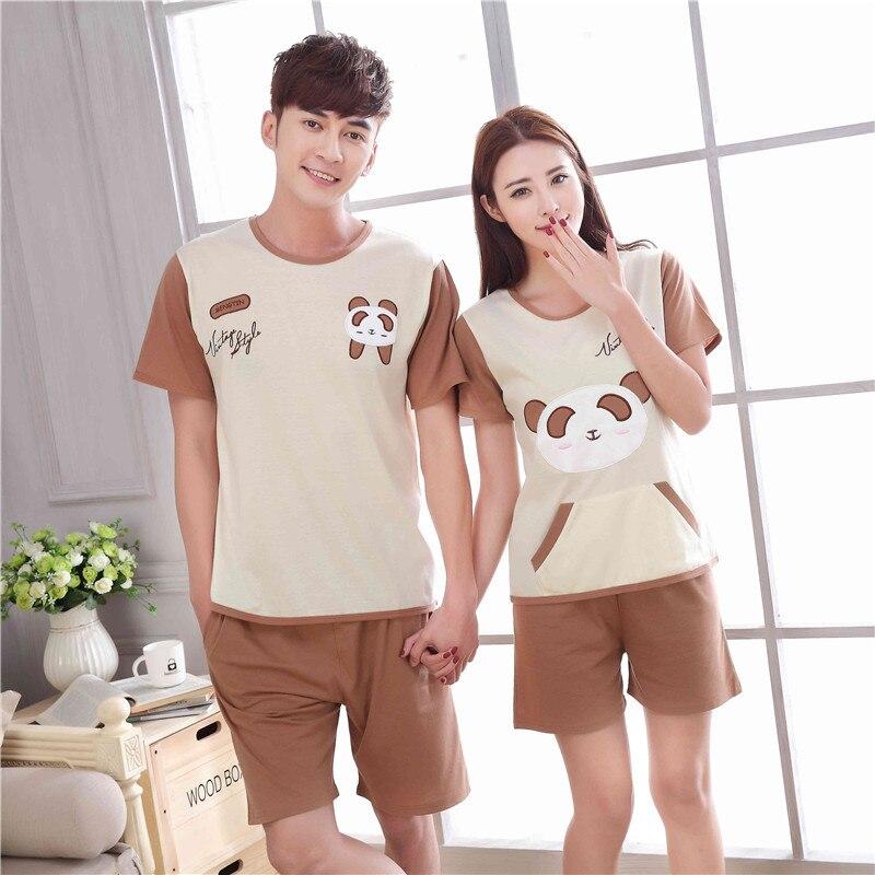 Summer Newest Men/Women fashion Character printing Short sleeved shorts Sleepwear Couple Leisure comfortable Cotton Pajamas stes
