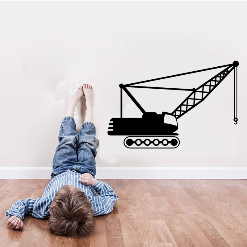 Free Shipping diy Crane With Hook Vinyl Wall Sticker Home Decor Vehicle Wallpaper For Kids Room Decoration mural