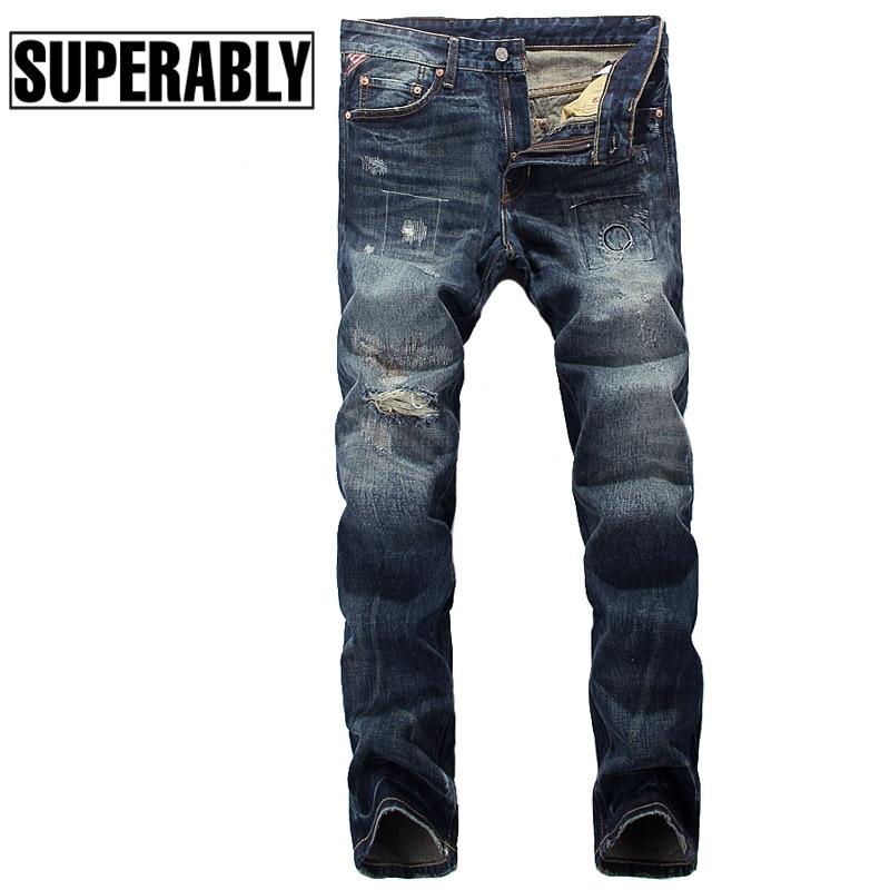ФОТО European Fashion Street Men Jeans Classic Wash Denim Stripe Ripped Jeans High Quality American Flag Patchwork Motor Biker Jeans