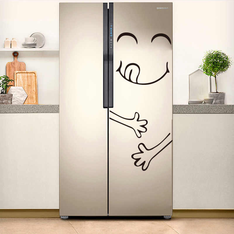 Cute Refrigerator Sticker Kitchen Decoration Accessories Delicious Face Wall Stickers Cuisine Door Home Decor Fridge Mural