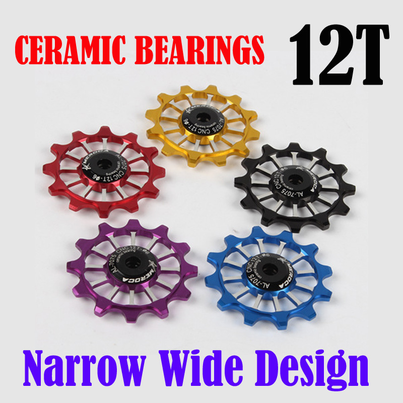 Narrow Wide Ceramic Bearing Derailleur Pulley 12T Rear Derailleur Aluminum Jockey Wheel Fit for Road Bike MTB BMX 5 colours
