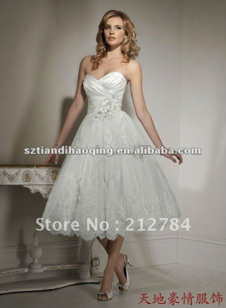 Sweetheart Neckline Liqued Beading Satin And Net Short Wedding Dresses
