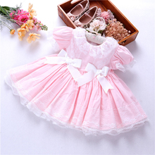 girls vintage dress spanish pink ruffles lace bow party toddler baby frock boutiques fashion kids dresses children clothing