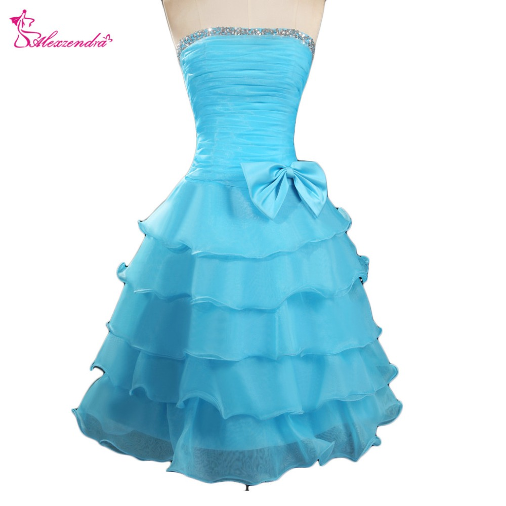 Alexzendra Strapless Beads Ruffles Knee Length   Prom     Dresses   Simple Party   Dresses   Plus Size