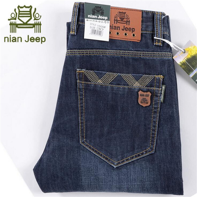 NIAN AFS JEEP High Quality Real Men's Autumn/Winter Jeans,Light Blue Mid Waist Full Length Casual Leisure Cowboy's Denim Jean afs jeep chariot 2016 autumn man s denim cotton jeans back pockets fashion man s leisure mid waist jeans fall cow boy s jeans