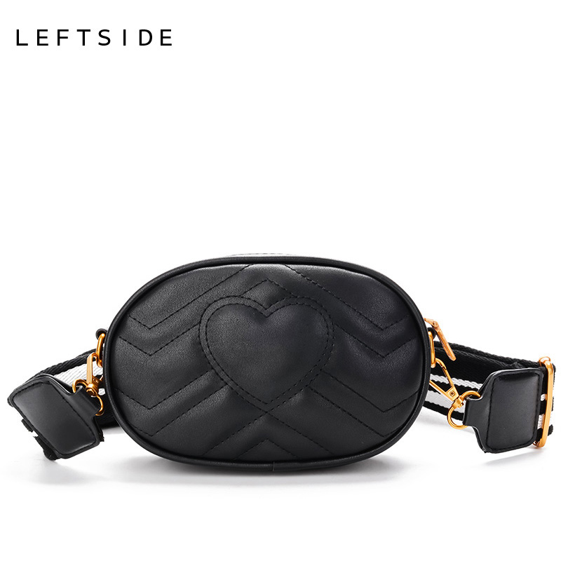 LEFTSIDE With Two Pcs Of Belt Female Bags Waist Bag Women Love Heart Cross-body Bag PU Leather Shoulder Crossbody Chest Handag