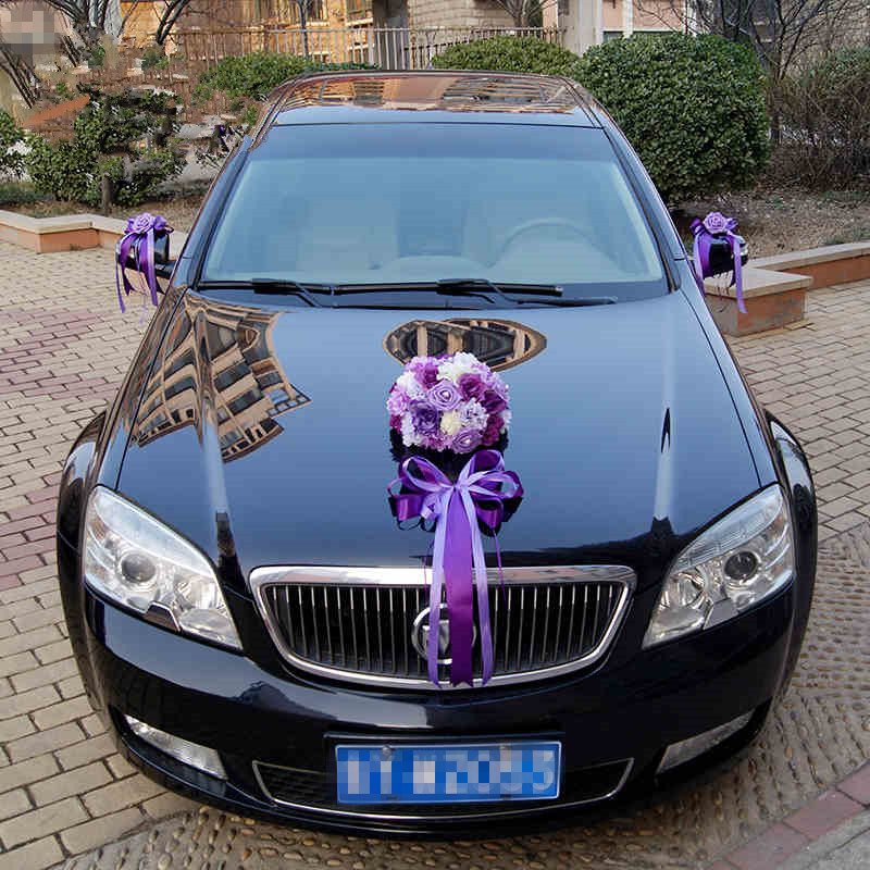 2017 new ribbon bowknot artificial rose flower wedding car for Automotive decoration