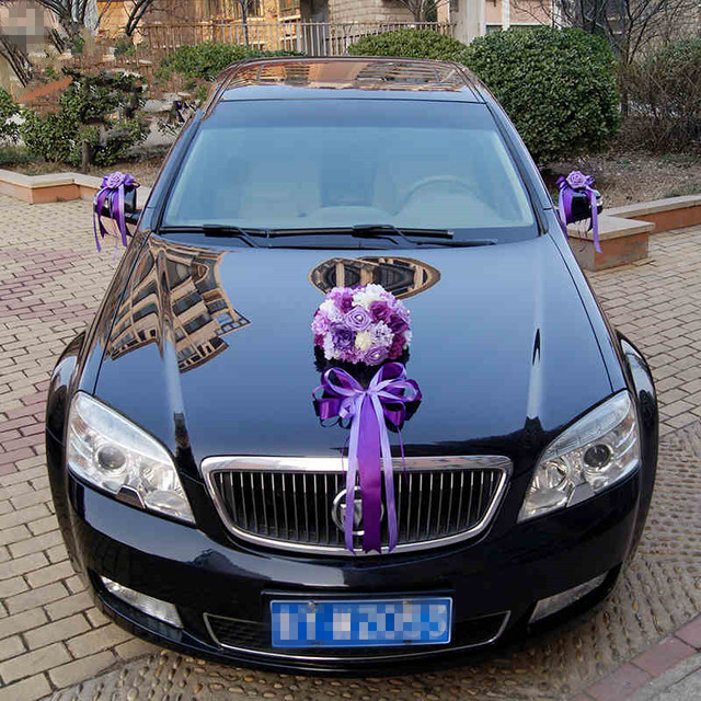 car decoration for wedding with ribbon. Black Bedroom Furniture Sets. Home Design Ideas