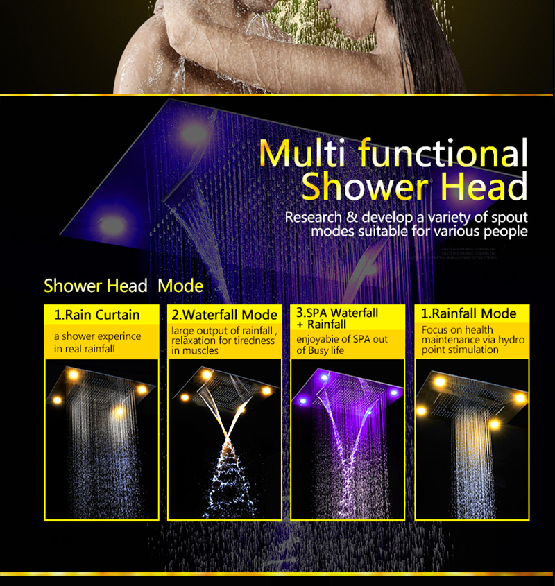 Bathroom Fixture Shower Faucets Ceiling Mounted Waterfall Mist Shower Head Big Rain LED Shower Set High Flow Thermostatic Bath (10)