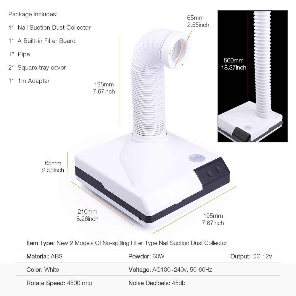 60 Вт Новый сильный гвоздь пылесборник всасывающий пылесос выдвижной 2 модели дизайн вентилятор гвоздь пылесос