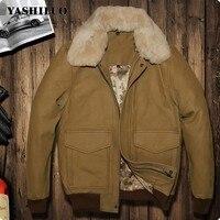 Casual Mens 100% Real Leather Fur Collar Coat Fashion Aviator Pilot Jackets For Male Chaqueta De Cuero Hombre Blouson Moto