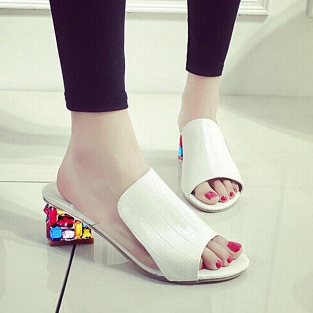 f97b6b85f5 US $14.18 45% OFF|Sandalias plataforma 2018 summer PU leather woman sandals  shallow female rhinestone ladies shoes thick heel crystal sandals-in ...