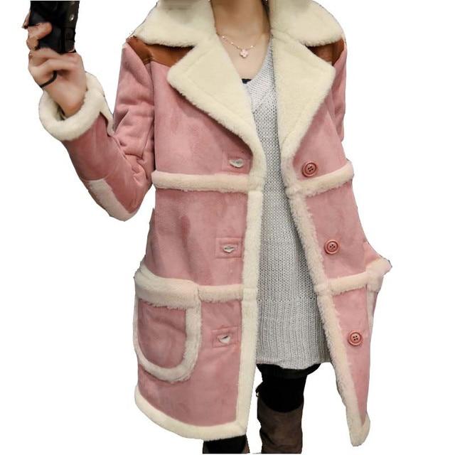 Зимняя Куртка Женщины Пальто Хлопка Женщин Искусственной Замши Длинные Шерсти Ягнят Парки женская Одежда Теплая Куртка Мода И Пиджаки Пальто C1670