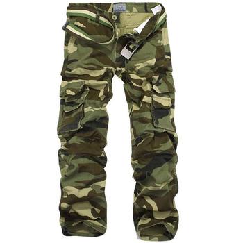 Spodnie kamuflażowe męskie kilka kieszeni bawełniane wojskowe wojskowe kamuflażowe spodnie Pantalon Homme męskie kombinezony Streetwear spodnie wojskowe tanie i dobre opinie Proste Pełnej długości Camouflage pants for men K8 W stylu Safari Mieszkanie COTTON Midweight Kieszenie Suknem Luźne