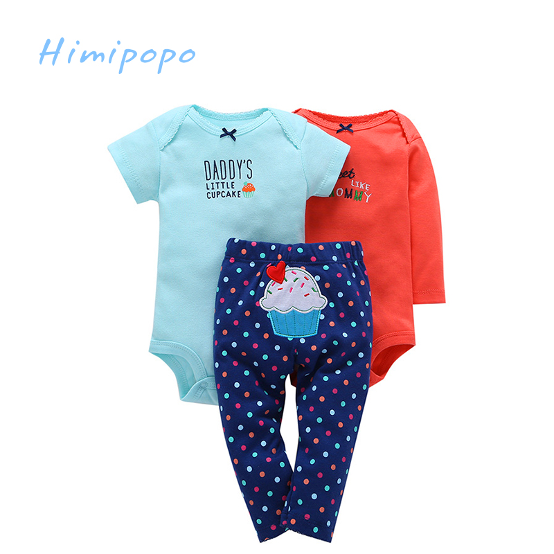 HIMIPOPO 3pcs Fashion Baby Romper Sets Full Newborn Clothes Sets Cotton Kids Outfit Toddler Boys Girls
