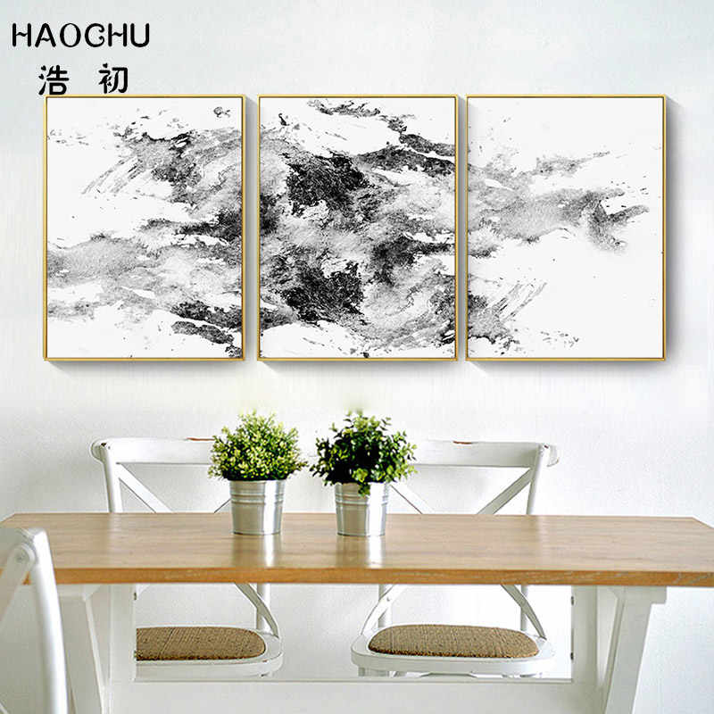 HAOCHU  Nordic Art Poster Abstract Mountain Art Poster Black And White Blue Abstract Print Picture Home Wall Decor Unframed