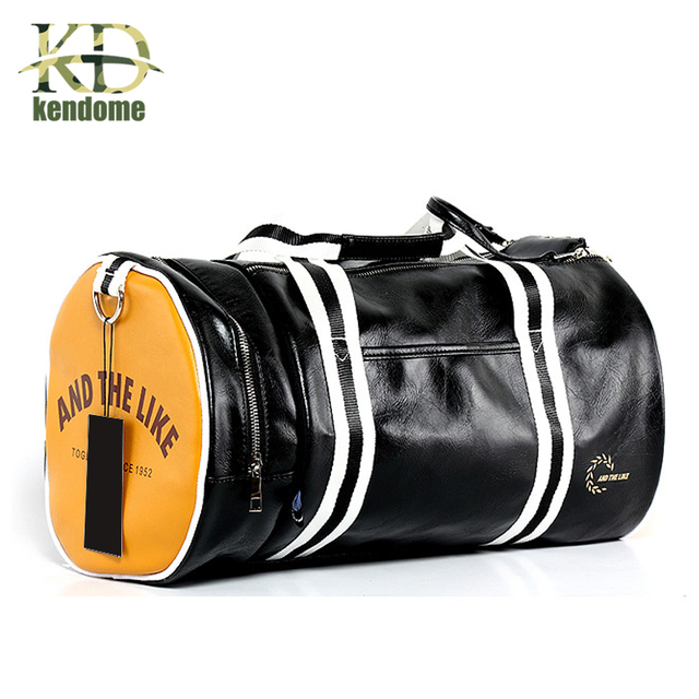 Outdoor Mens Sports Gym Bag PU Leather Training Shoulder With Independent Shoes Pocket Mixed Color