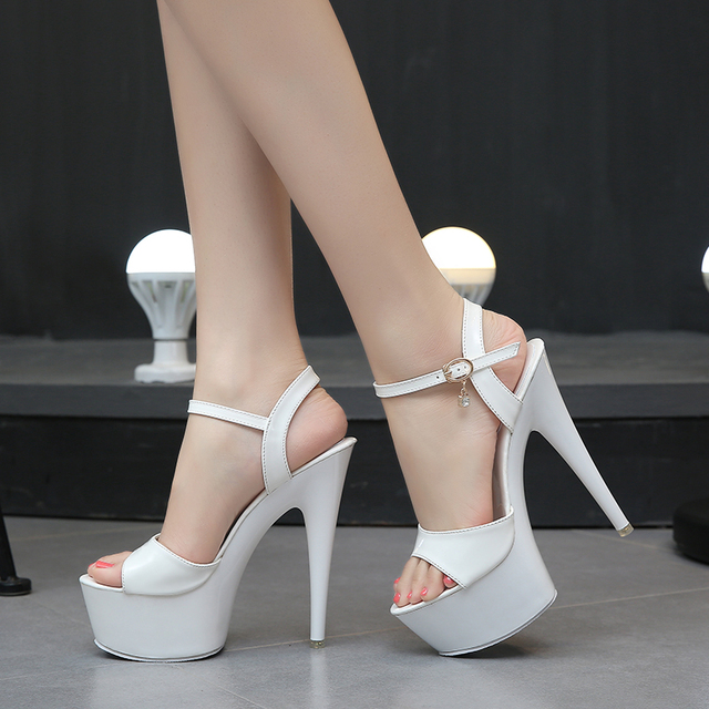 15cm High-Heels Waterproof Thick Bottom Sequins Thin Heels Model Car Show Nightclub Sandal 2