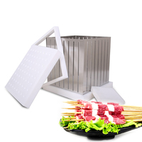 GZZT 64 Holes Kebab Maker Box with 64pcs Skewers Stainless Steel 1.8mm/2.5mm 30cm LongEasy to Make Meat the Best Conbination