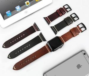 Image 3 - MAIKES אמיתי רצועת עור עבור אפל שעון להקת 44mm 40mm 42mm 38 סדרת 6 5 4 3 2 שחור צמיד iWatch רצועת השעון שעון רצועה