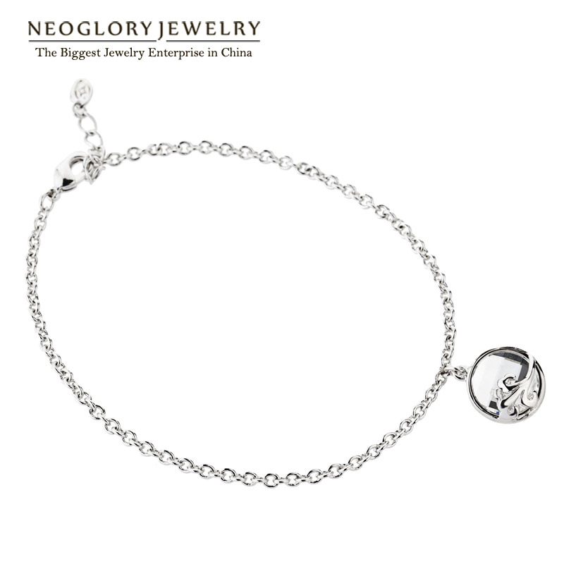 Neoglory Crystal Enamel Paint Alloy Rose Gold Color Bangles