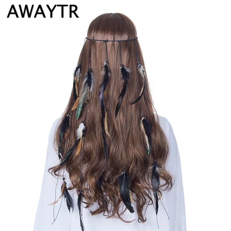AWAYTR Boho Feather Headband Women Elastic Gypsy Black Long Feather Rope  Crown Headdress Festival Hair Accessories-in Women s Hair Accessories from  Apparel ... 66a741d26ab9