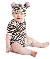 8 комплектов/партия, комплект одежды для младенцев с короткими рукавами и рисунком зебры, пижамы, комплекты одежды для малышей, Детские модельные комбинезоны - Цвет: Zebra