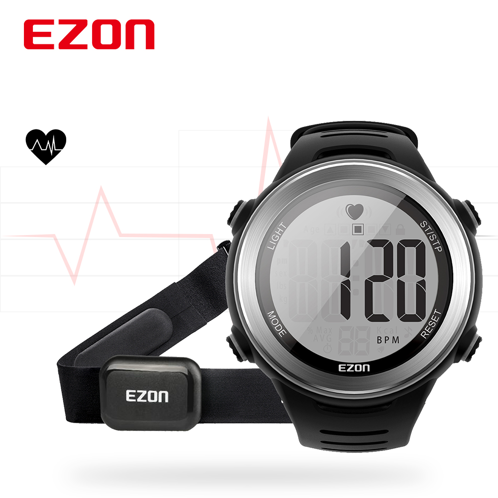 EZON T007 Heart Rate Monitor Fitness Running Digital Watch 50M Waterproof Alarm Stopwatch Sport Wristwatch with Chest Strap