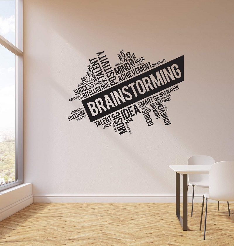 Vinyl wall decals brainstorming office space business word cloud interior sticker mural home commercial decoration 2BG18 in Wall Stickers from Home Garden